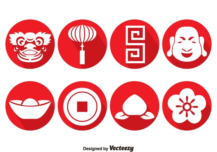 Chinese Cirkel Pictogrammen Vector
