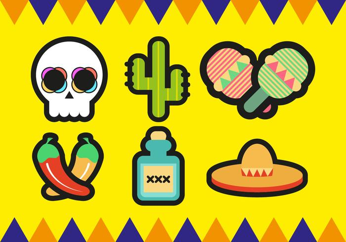 Mariachi Mexicaanse Minimalistische Pictogrammen Vector