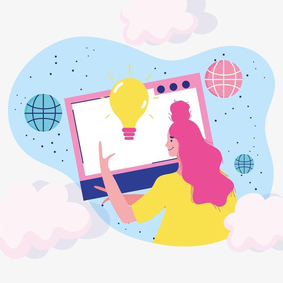 vrouw die een website maakt vector