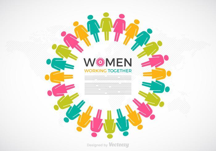 Vrouwen Samenwerken Vector Concept