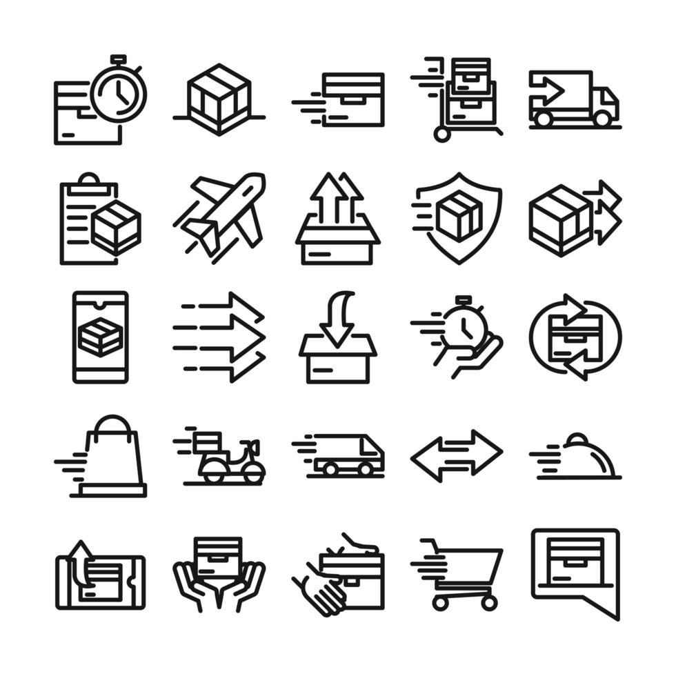 levering en logistiek icon pack vector