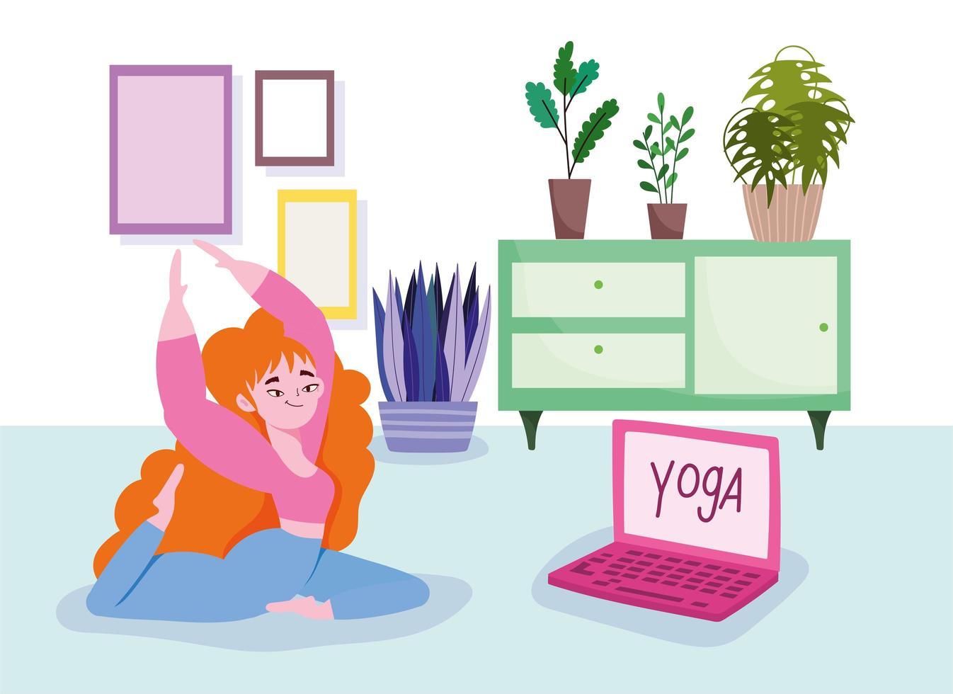 vrouw op verdieping met laptop vector