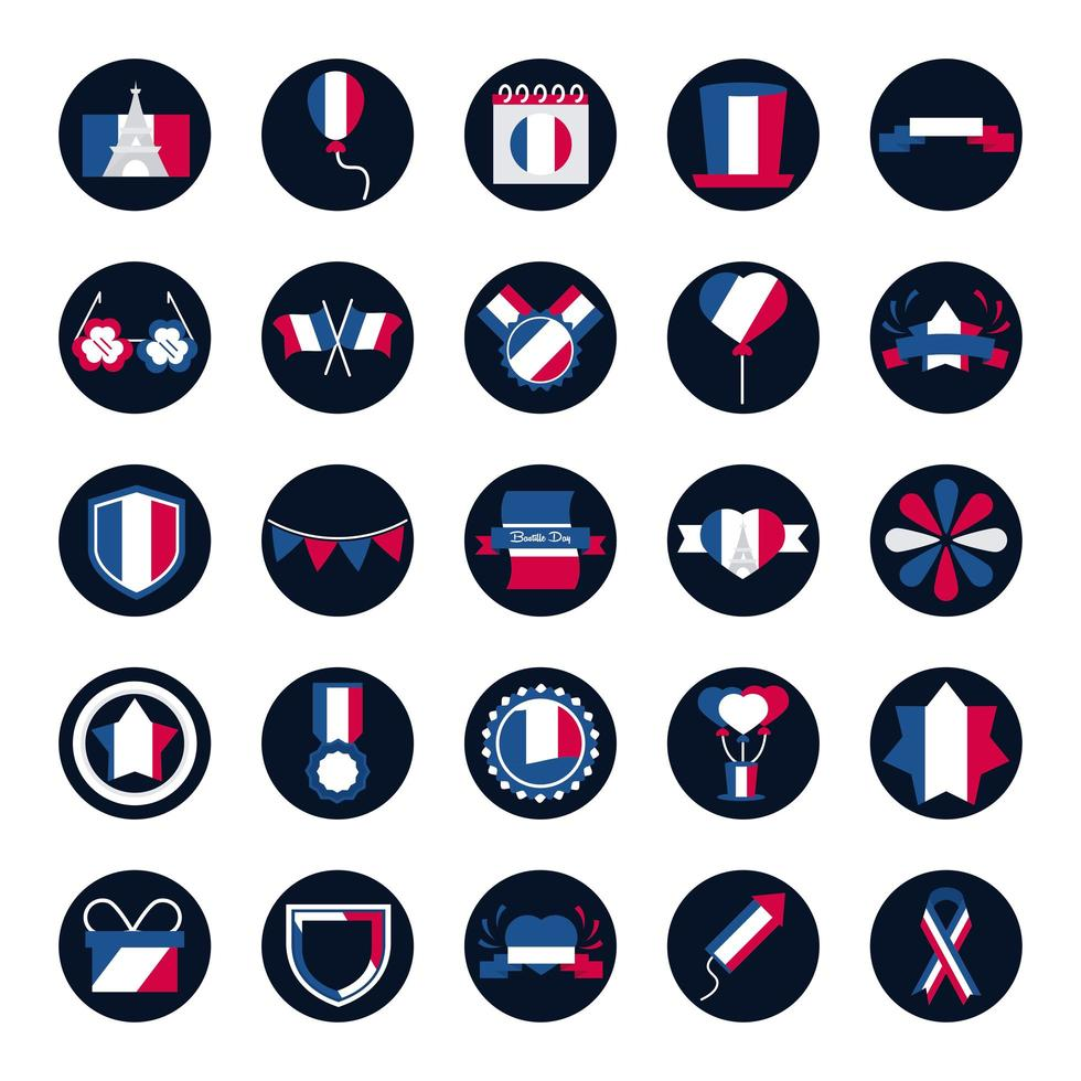 pakket Franse iconen vector