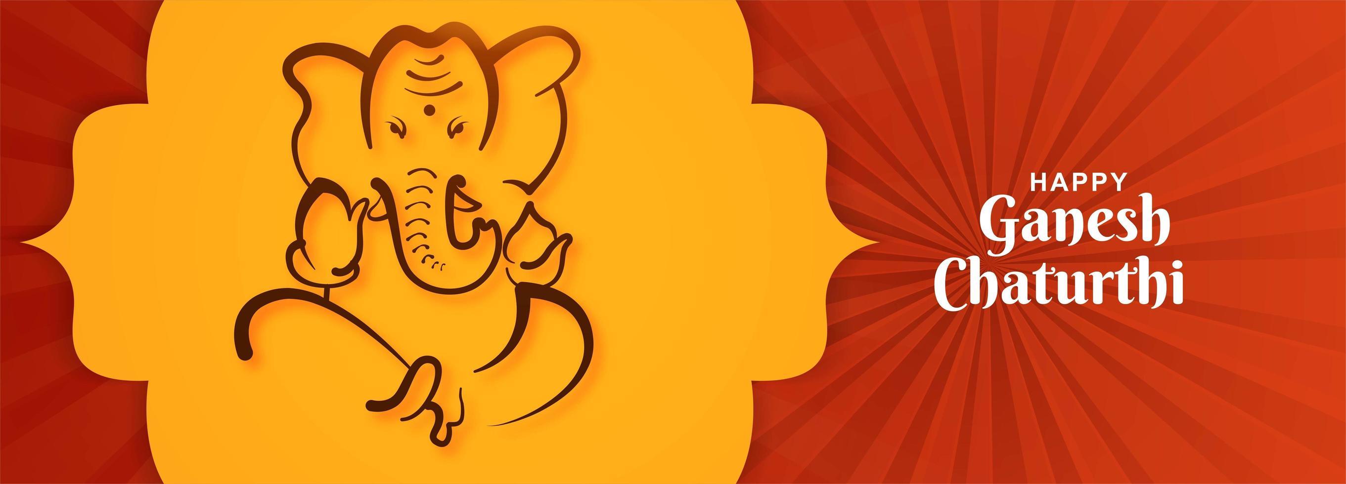 gelukkig ganesh chaturthi festival heer ganpati zittend banner vector