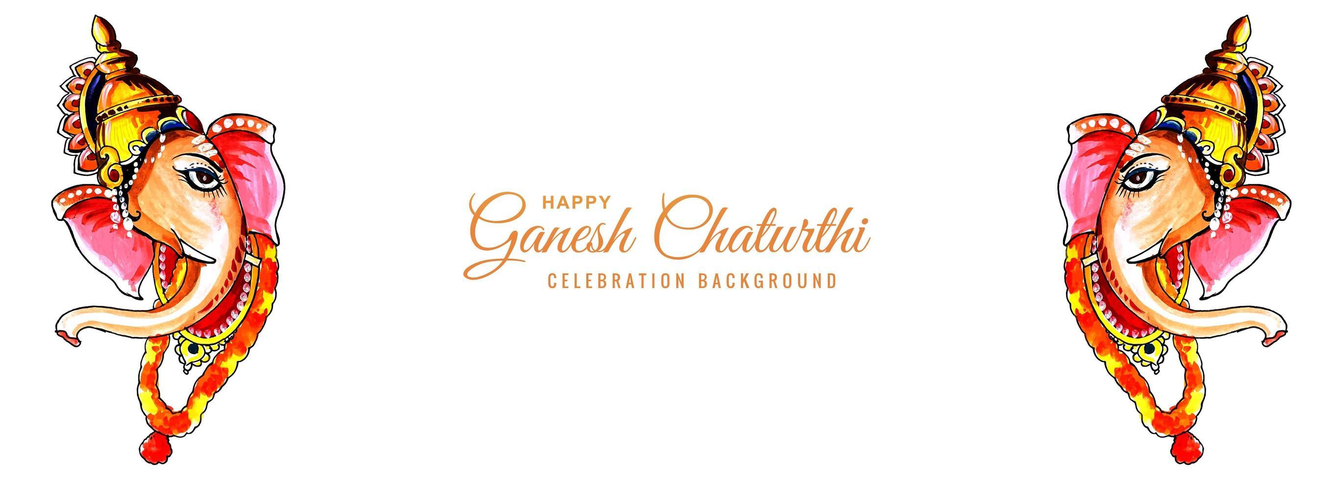 aquarel lord ganesh voor ganesh chaturthi banner vector