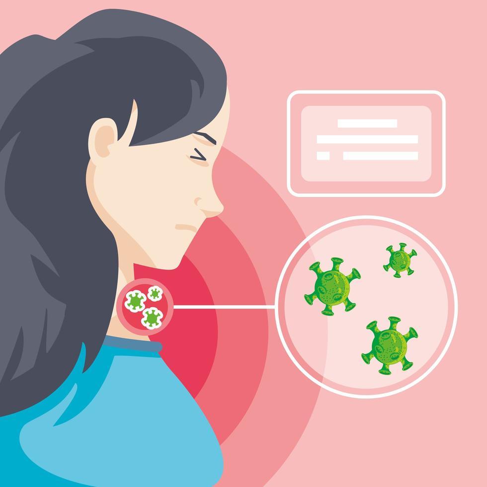 vrouw besmet met coronavirus die lijdt aan symptomen vector