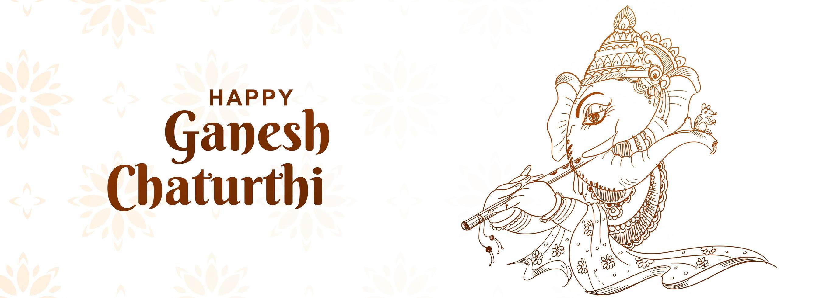 schets artistieke ganesh chaturthi festival banner vector