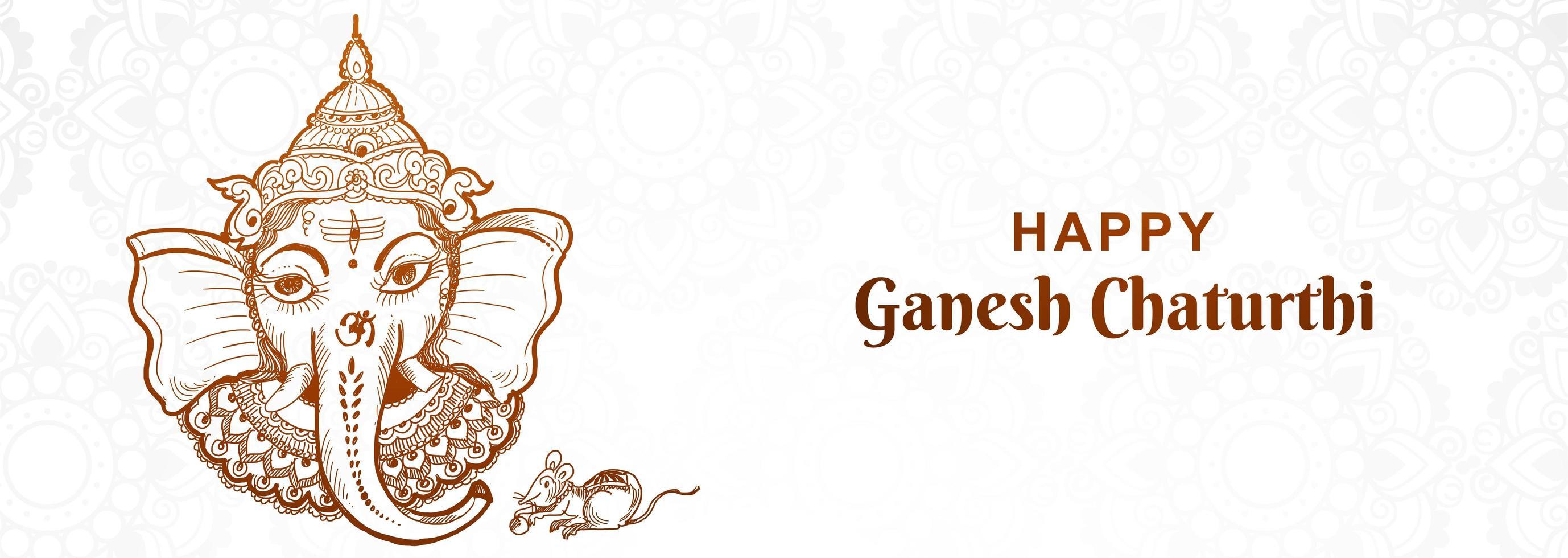 artistieke ganesh chaturthi festival banner vector