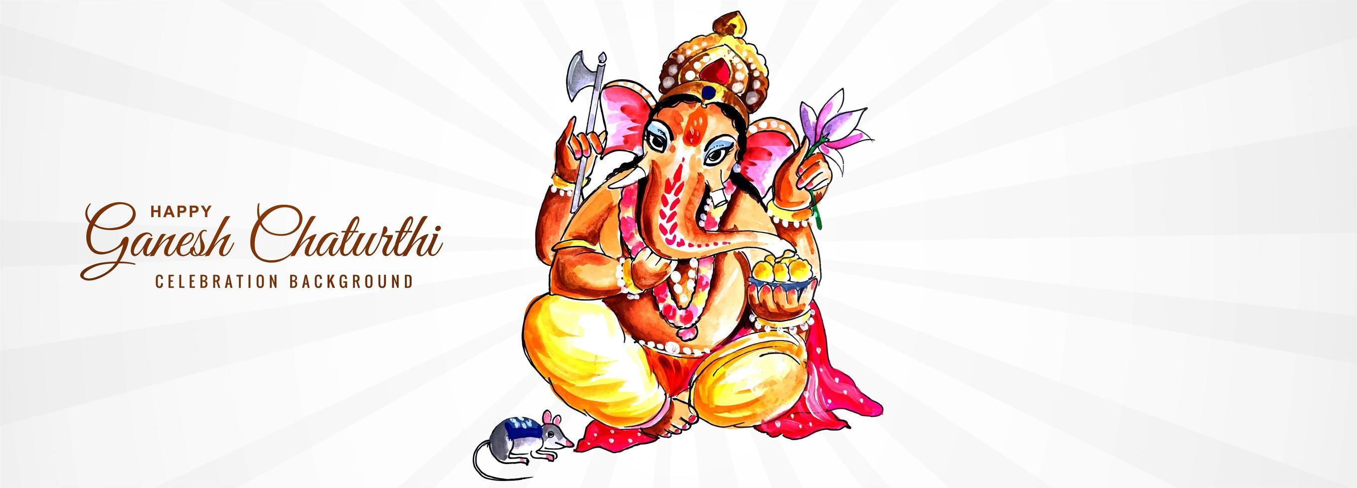 heer ganpati banner voor ganesh chaturthi achtergrond vector