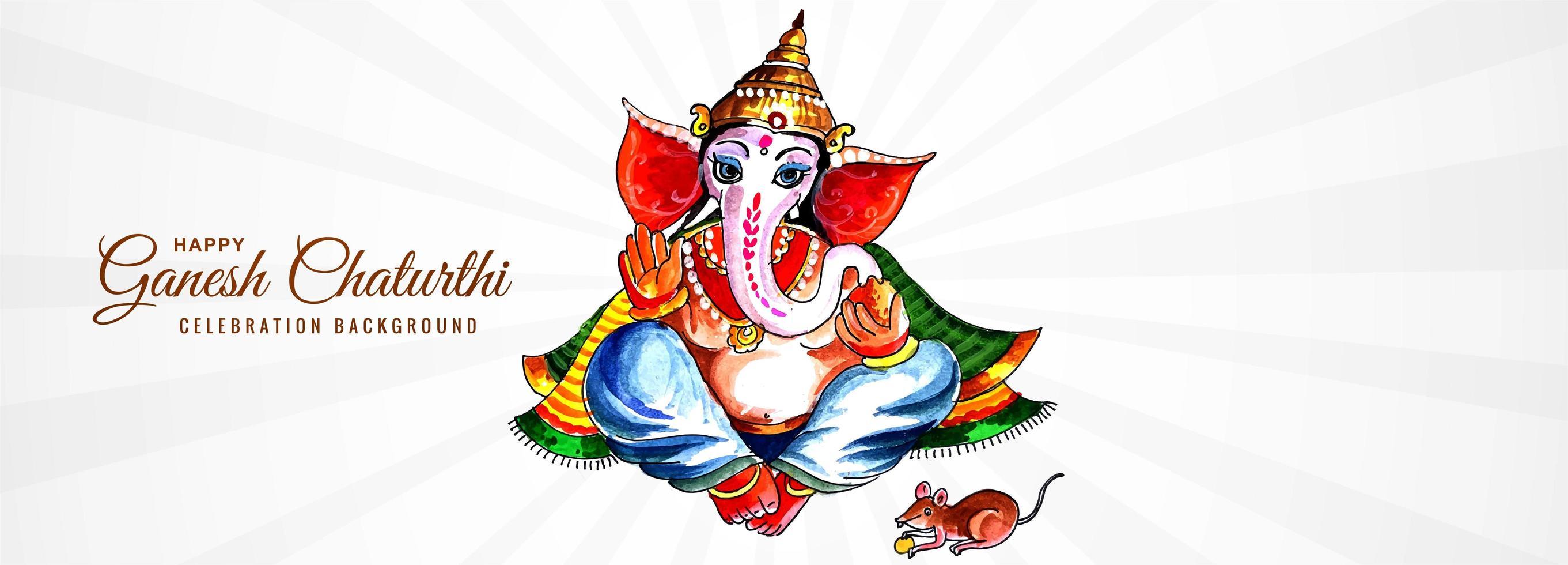 gebed tot heer Ganesha voor ganesh chaturthi banner vector