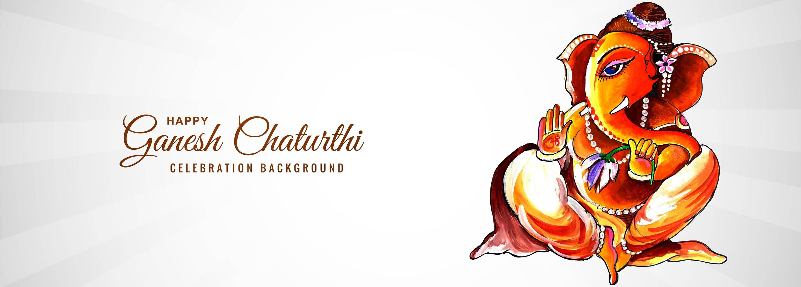 oranje aquarel lord ganesh voor ganesh chaturthi banner vector