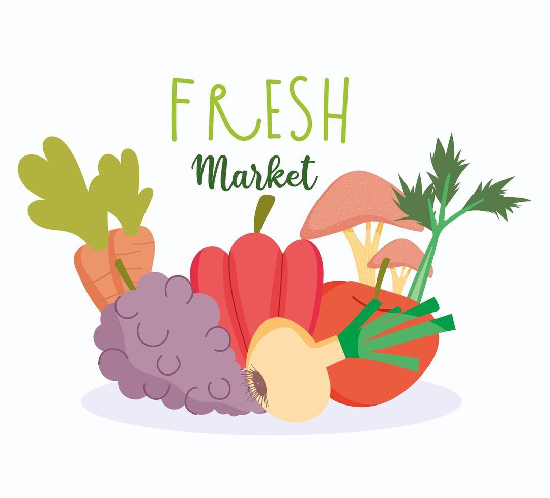 gezonde voeding en verse marktgroenten en fruitoogst vector