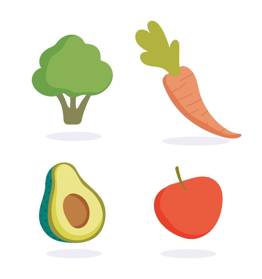 fruit en groenten pictogramserie vector