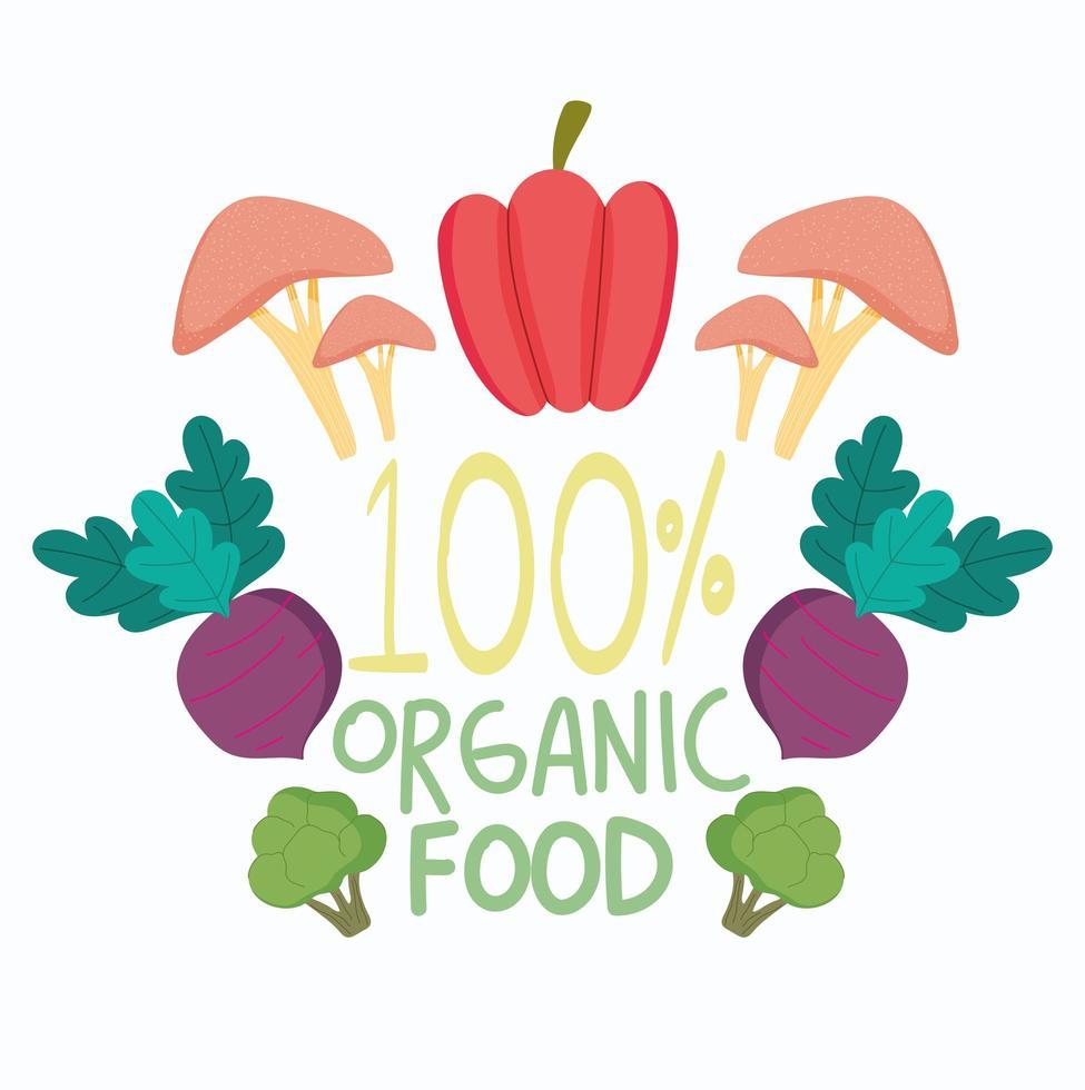 gegarandeerd biologisch voedsel en producten vector