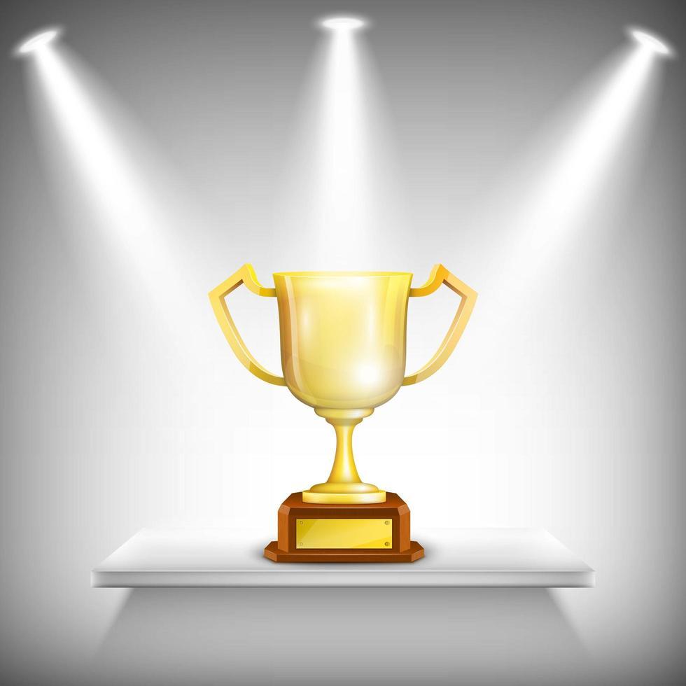 lichten schijnen op gouden trofee cup op plank vector