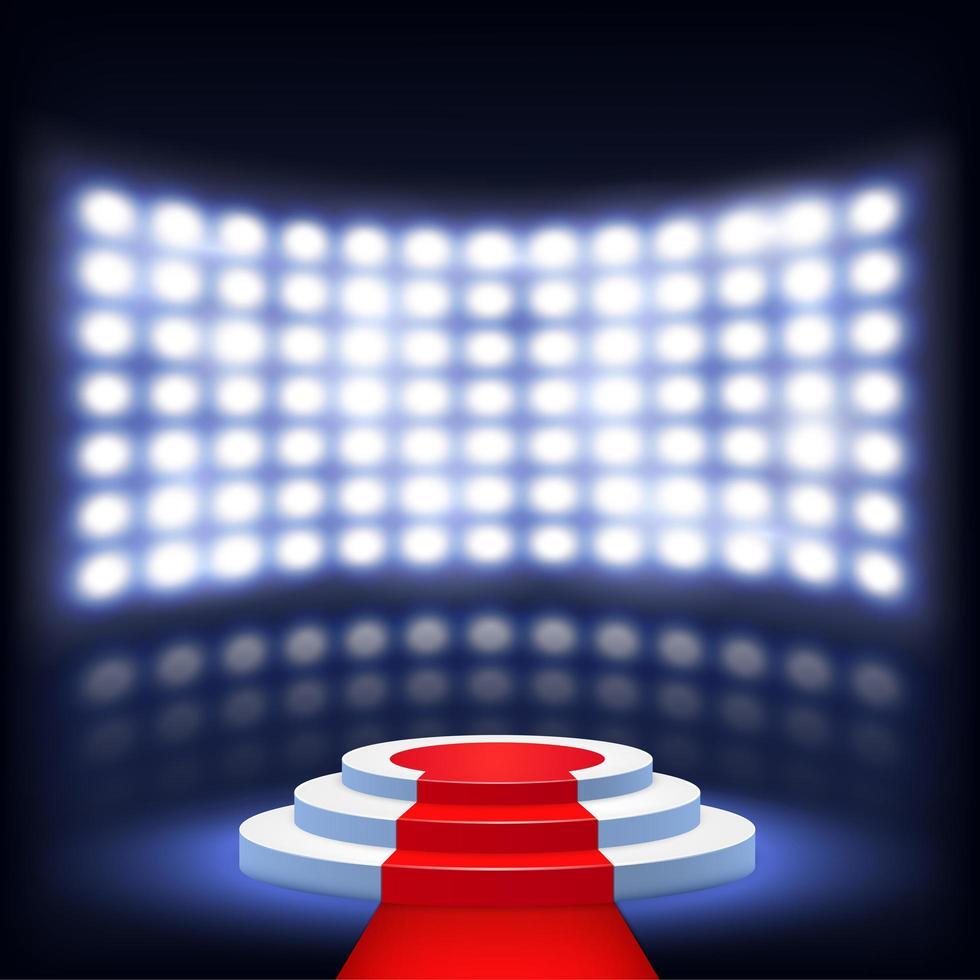 verlicht podium voor ceremonie met rode loper vector