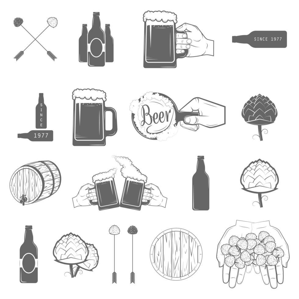 set van hand getrokken stijl bier ambachtelijke iconen vector