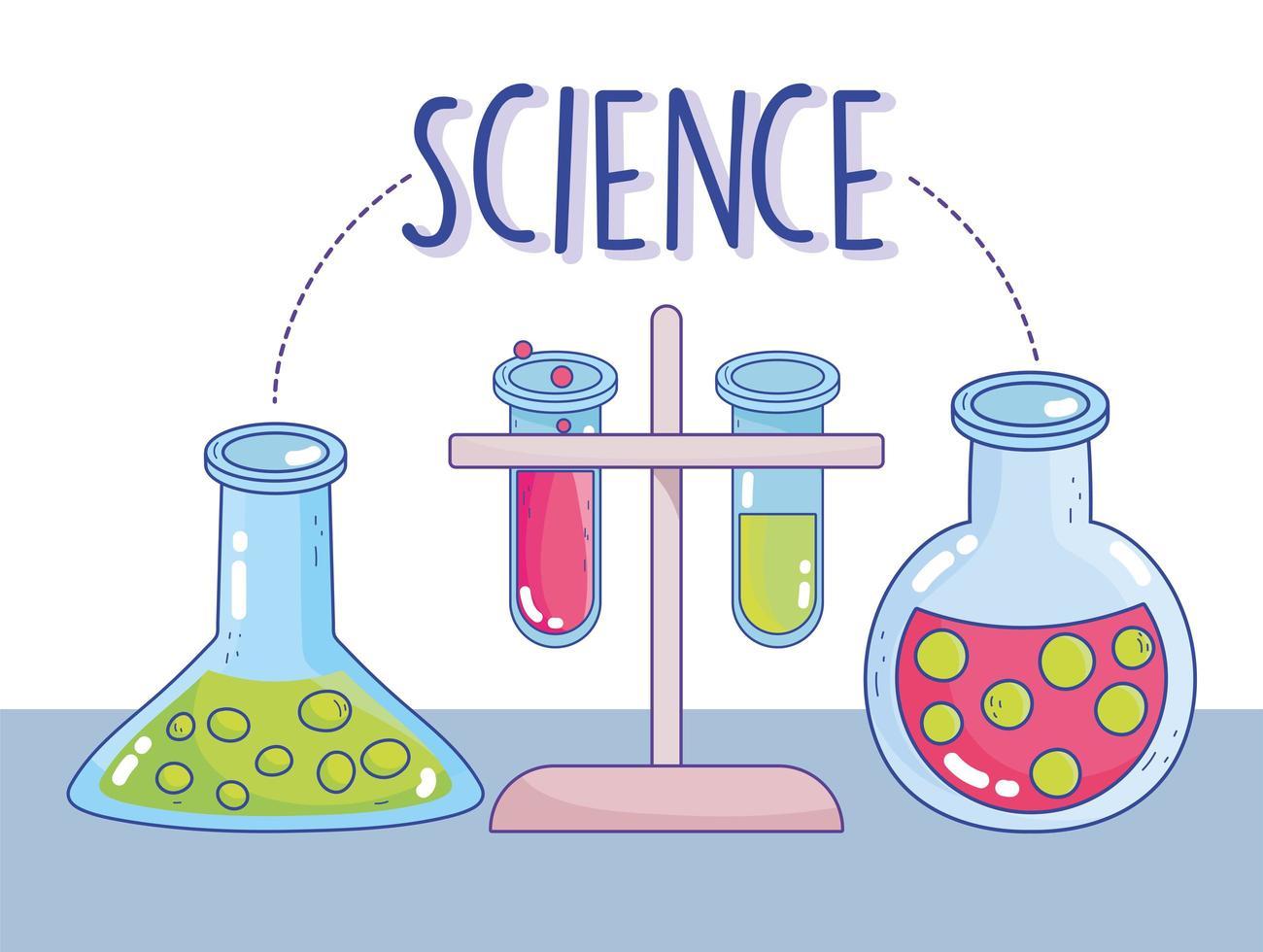 wetenschap en chemie beker en buizen met rek vector