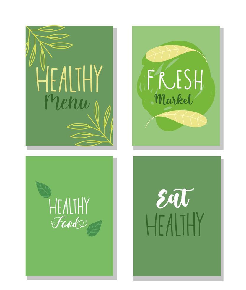 set van groene banners voor gezonde voedingsindustrie vector