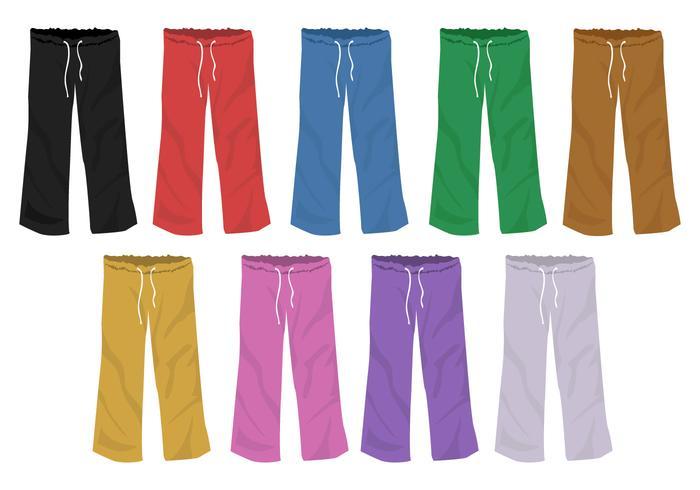 Set van volledige kleuren sjablonen Sweatpants Blank Design vector