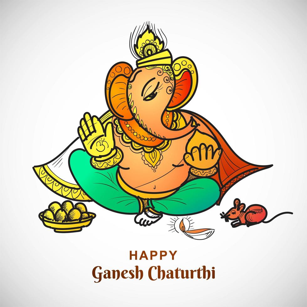 Lijntekening Lord Ganesha Ganesh Chaturthi Indian Festival Card vector