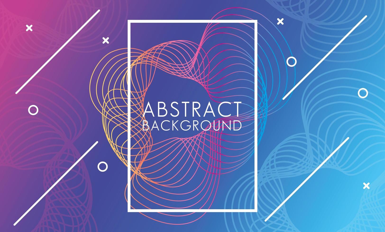 levendige moderne kleuren met vierkante frame abstracte krullende achtergrond vector