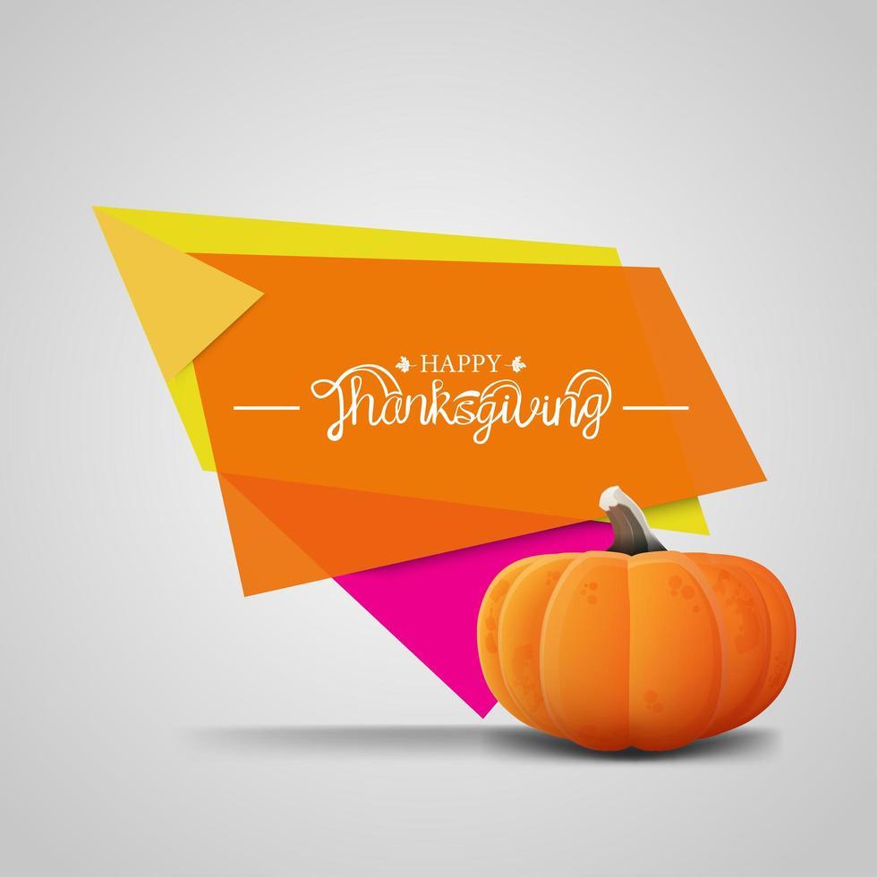 happy thanksgiving banner met geometrische vormen vector