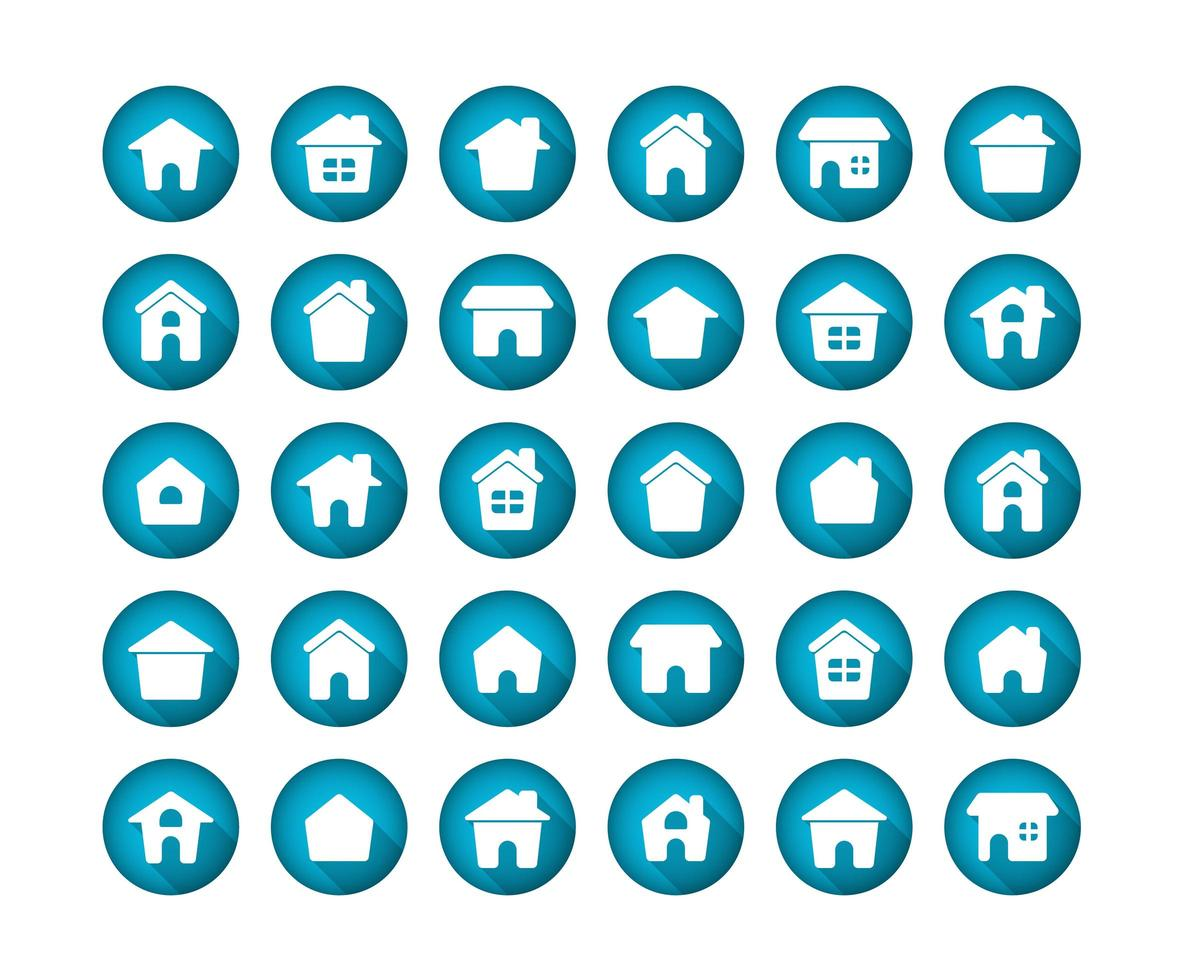 huis plat lange schaduw pictogramserie vector