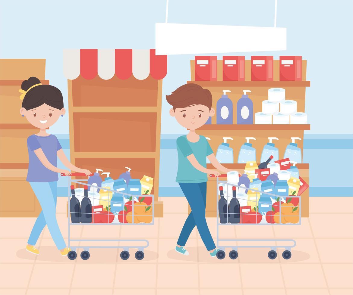man en vrouw die boodschappen kopen vector