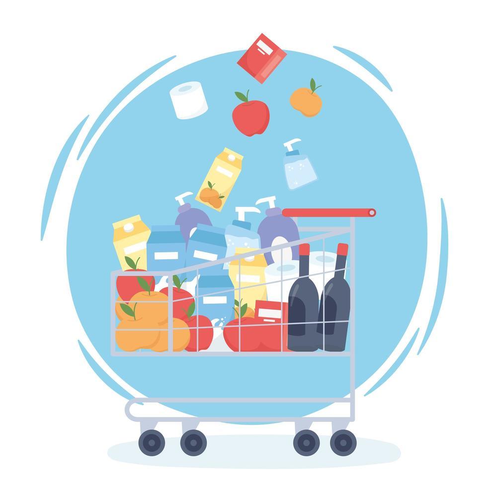 winkelwagen gevuld met boodschappen en schoonmaakproducten vector