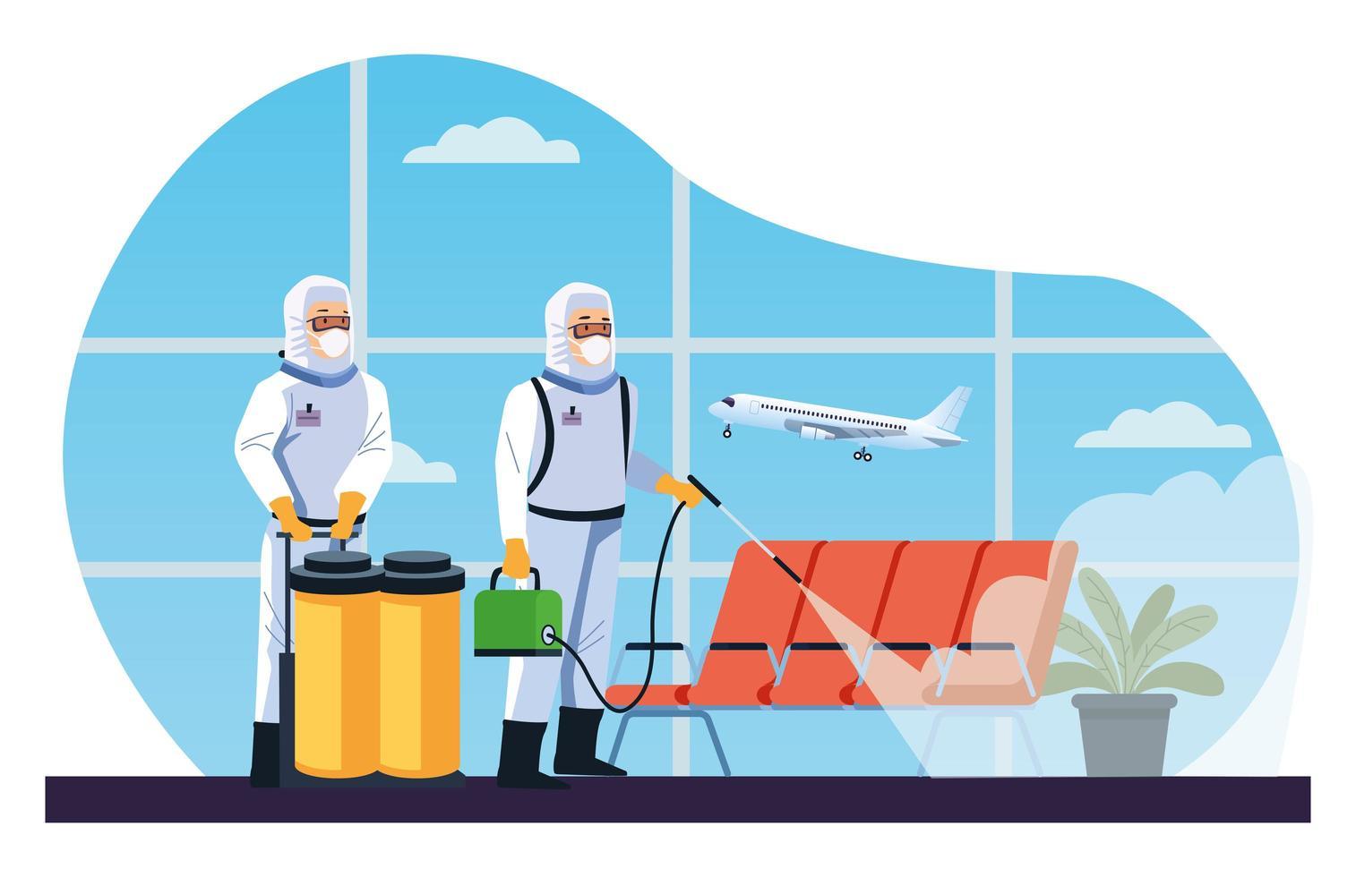 luchthavendesinfectie door bioveiligheidsmedewerkers vector