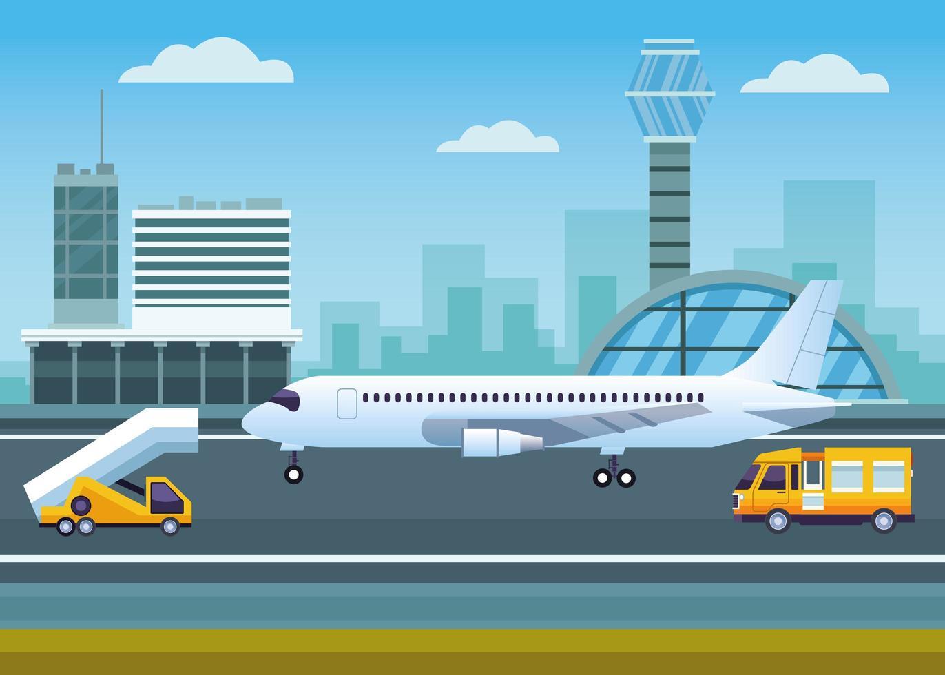 luchthaven met verkeerstoren en vliegtuig vector