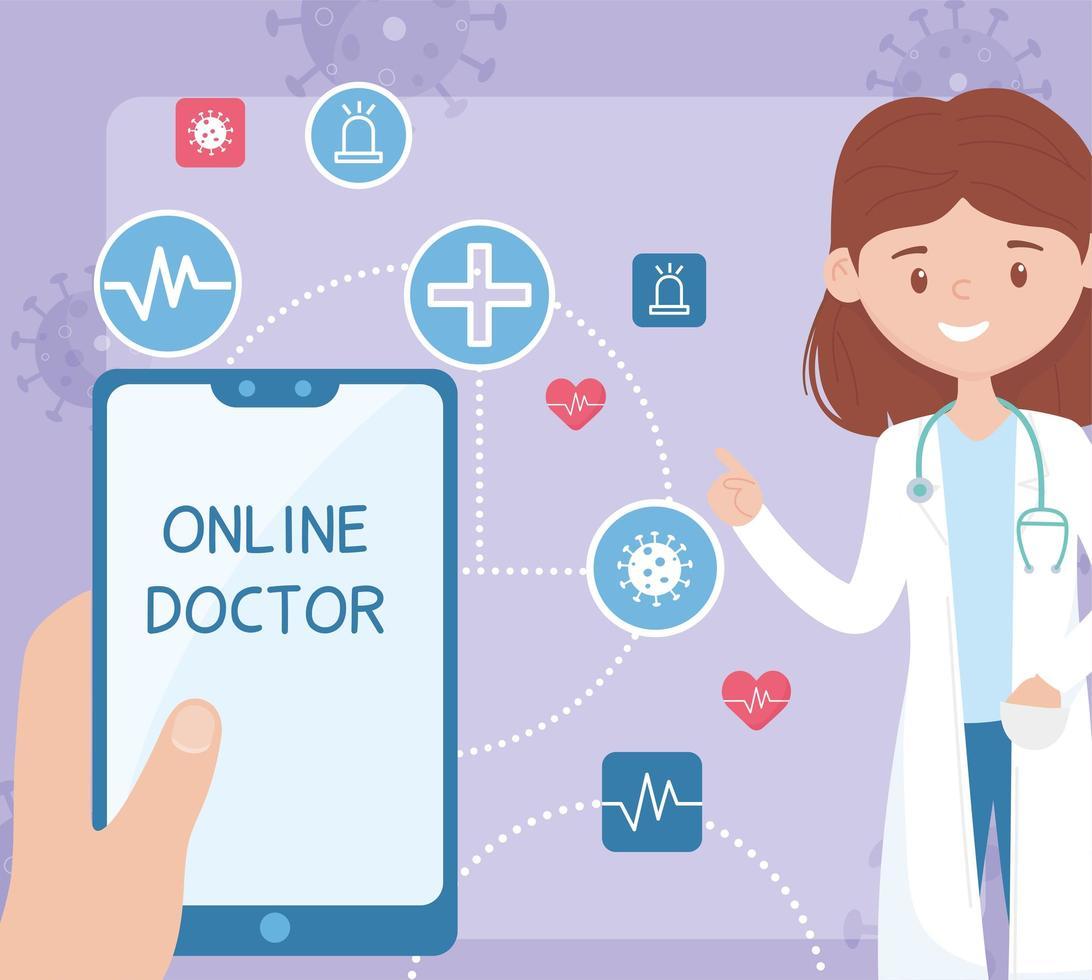 online gezondheidszorg met vrouwelijke arts vector