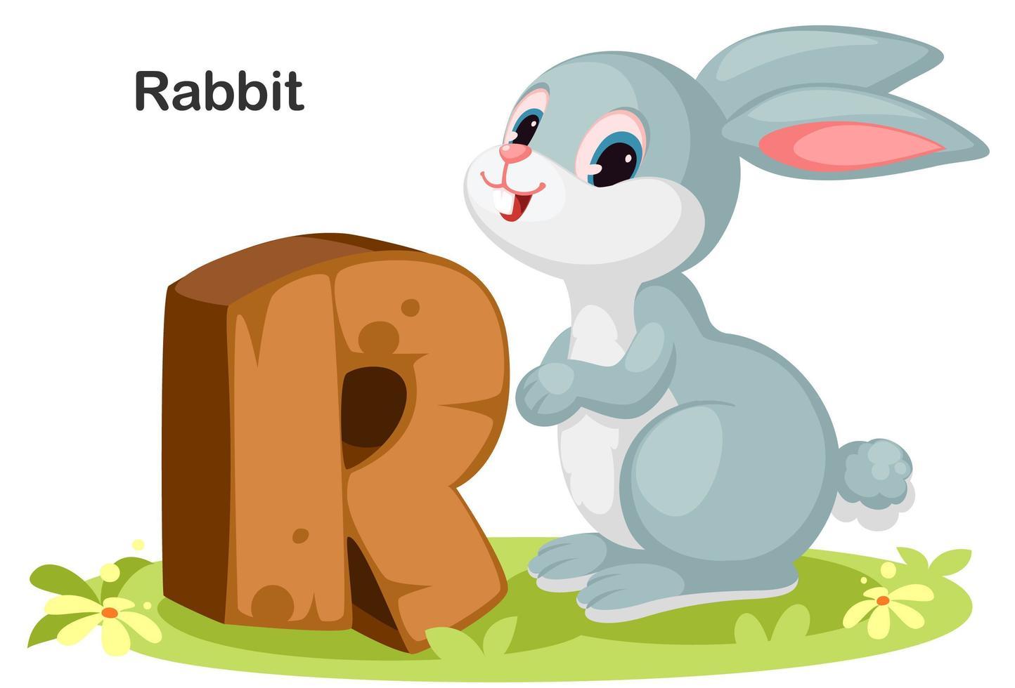 r voor konijn vector