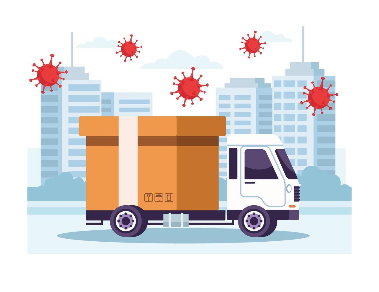 vrachtwagenbezorgservice met enkele covid 19-deeltjes vector