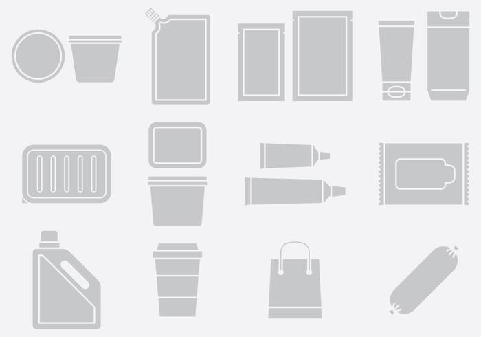 Grijze Plastic Pack Icons Set 2 vector