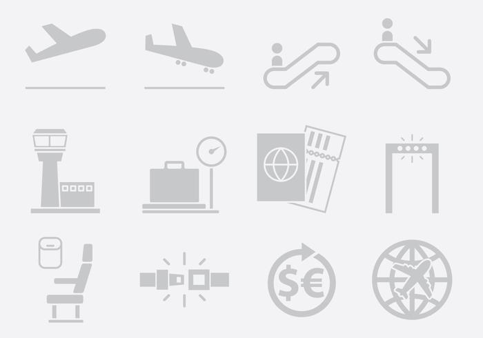 Grijze Luchthaven Pictogrammen vector