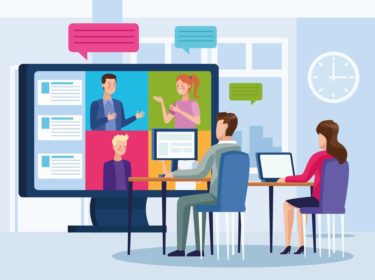 zakenmensen in onlinevergadering vector