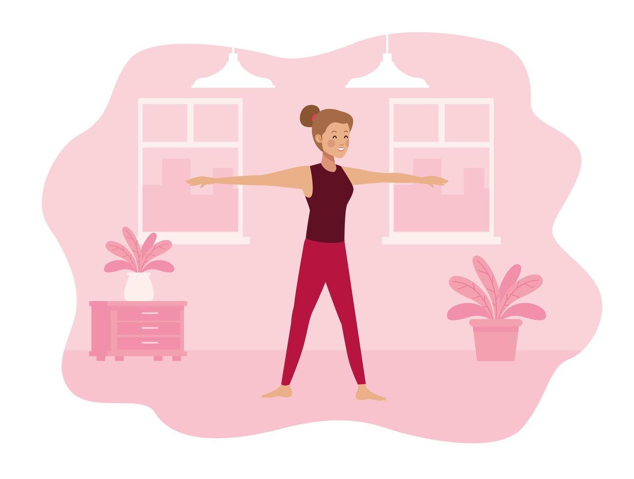 jonge vrouw beoefenen van oefeningen in haar huis vector