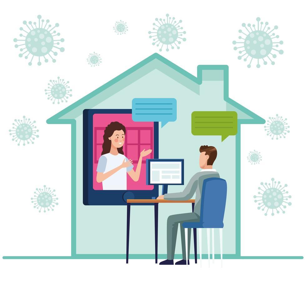 zakenpaar in een vergadering online vector