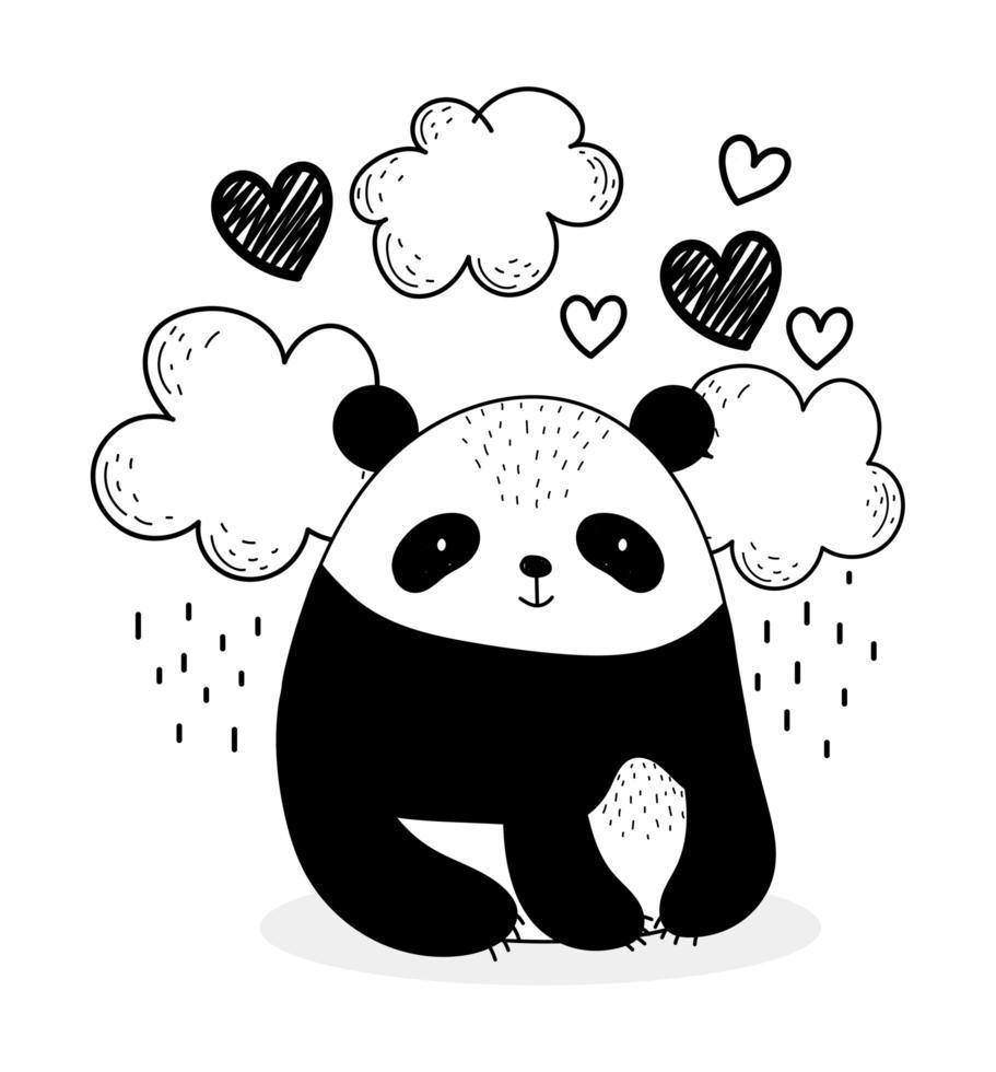 schattige panda met wolken en harten schetsstijl vector