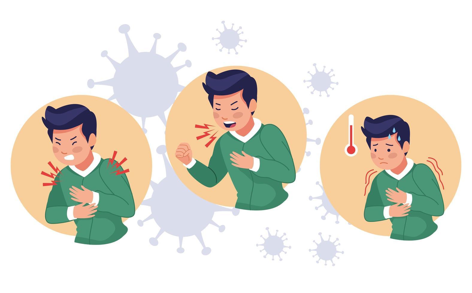 drie scènes van jonge zieke mannen met covid 19 symptomen vector