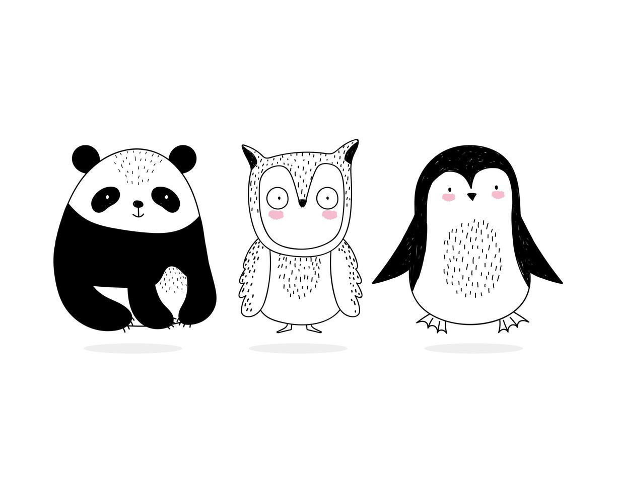 set van kleine wilde dieren schetsstijl vector