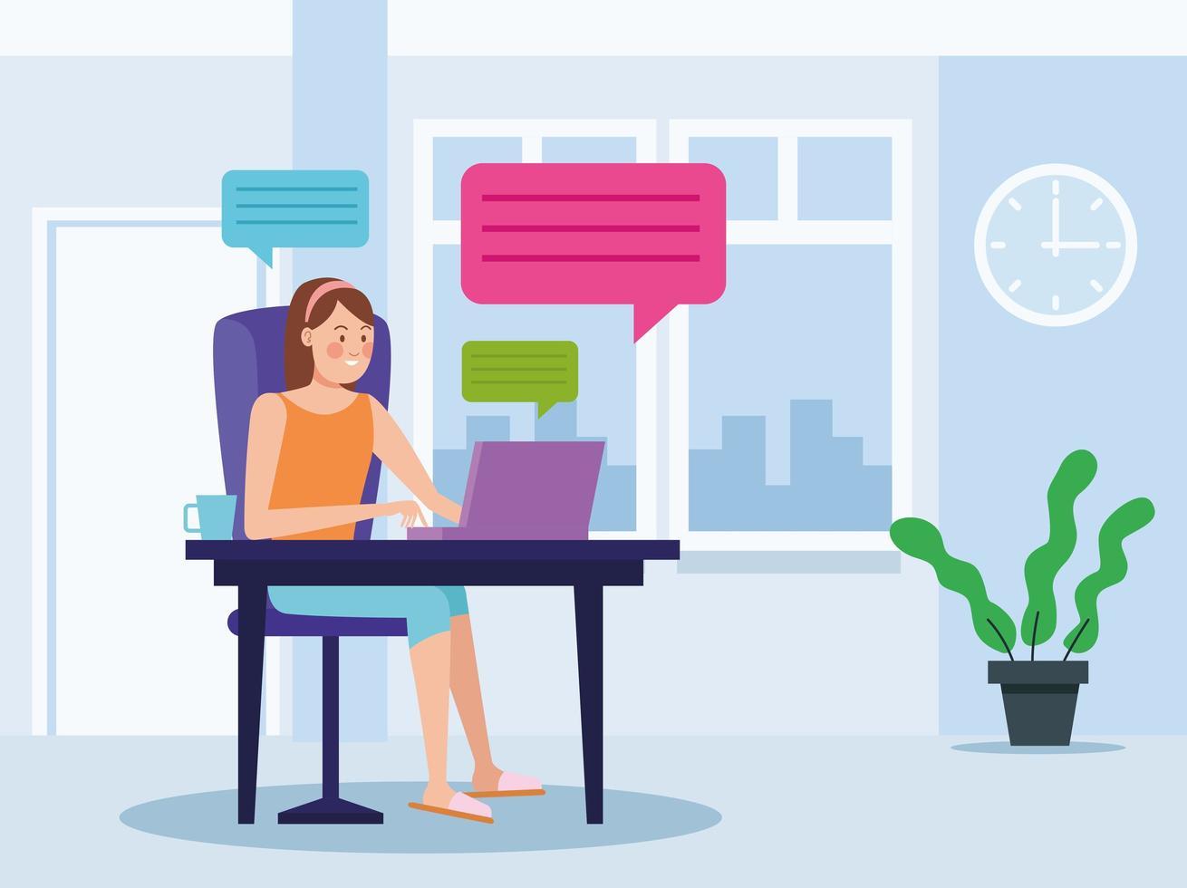 zakenvrouw in online bijeenkomst in kantoor aan huis vector