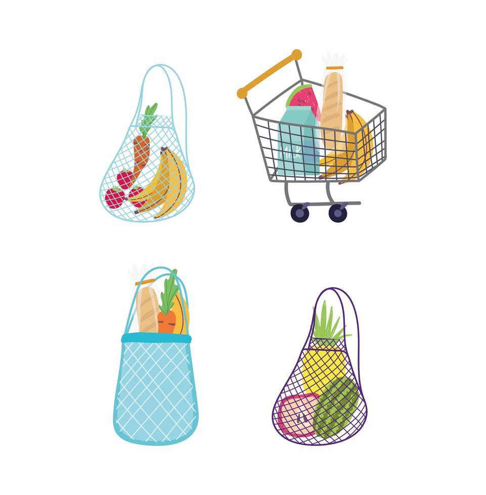 boodschappen in eco tassen en winkelwagen icon set vector