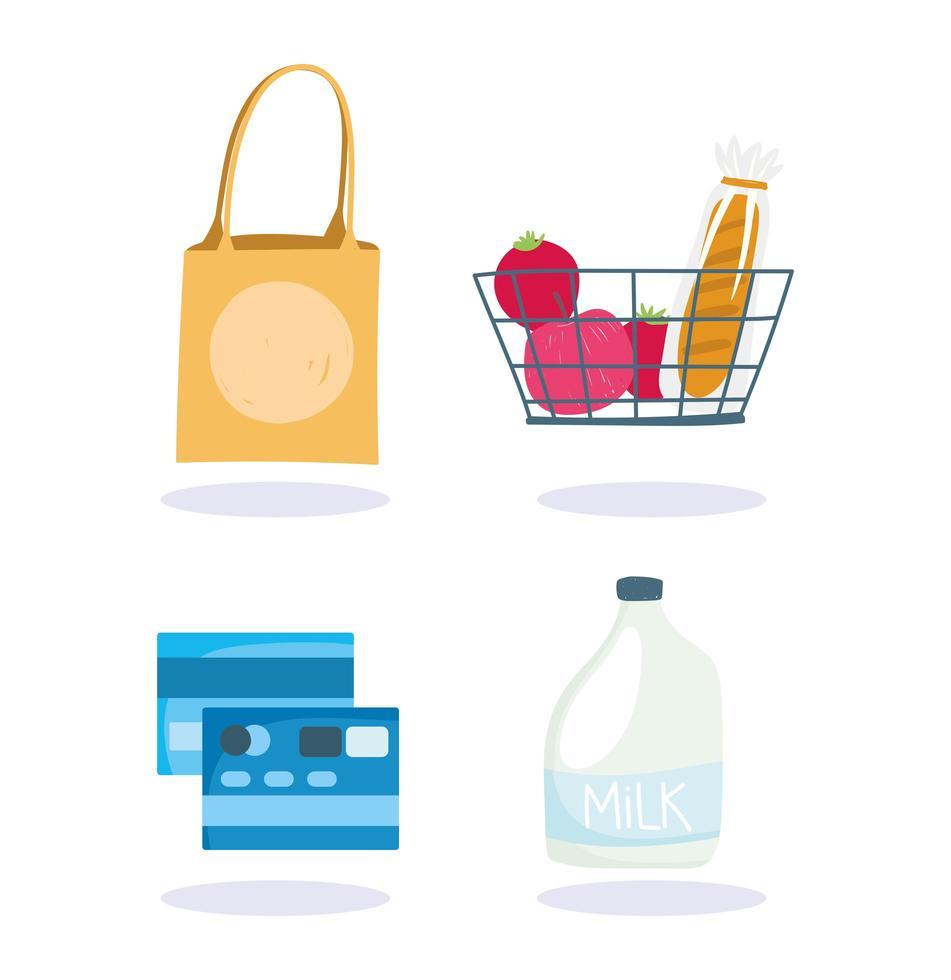 supermarkt producten en creditcards icon set vector
