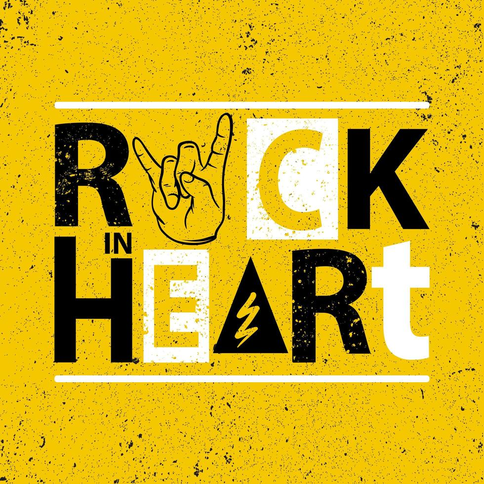 rock in hart poster vector