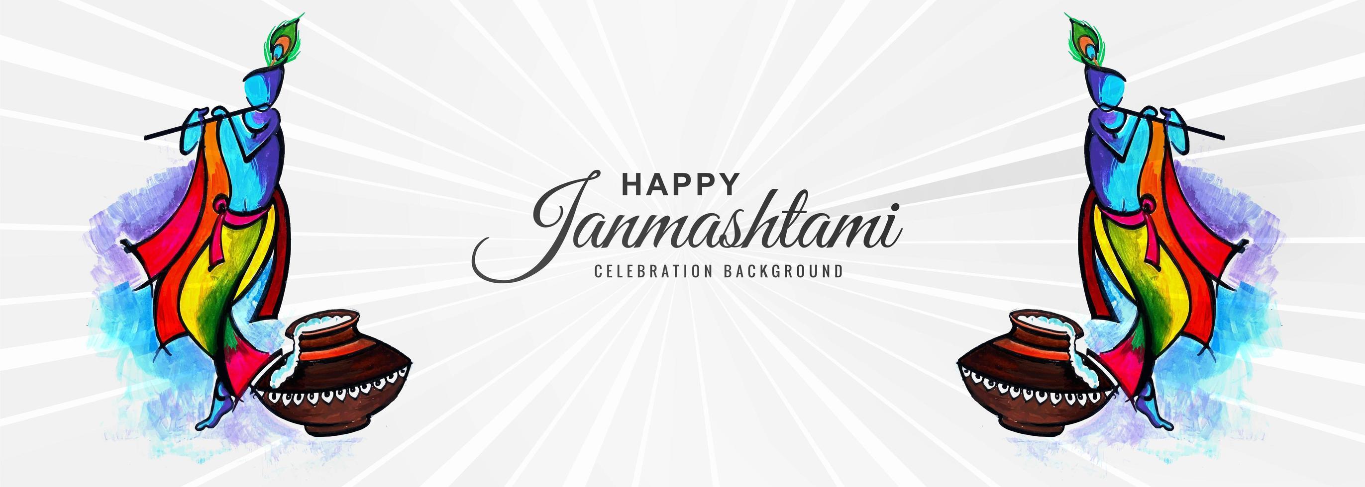 shree krishna janmashtami festival grijze zonnestraal banner vector