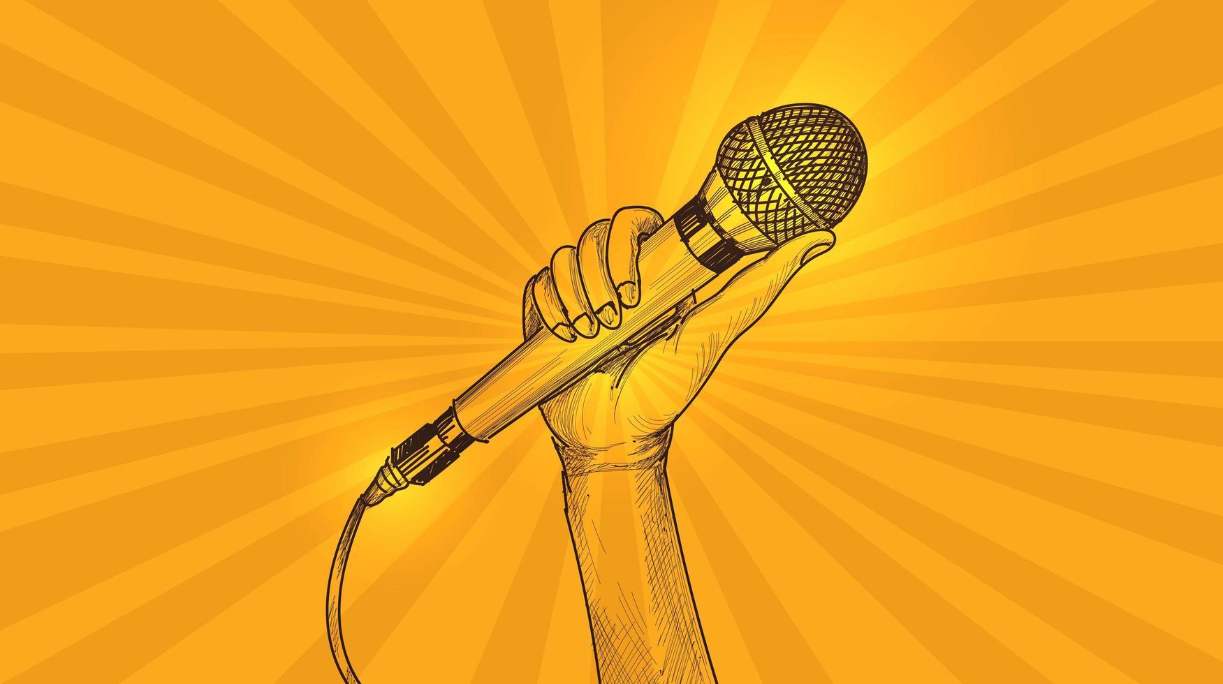 hand met microfoon schets gele achtergrond vector