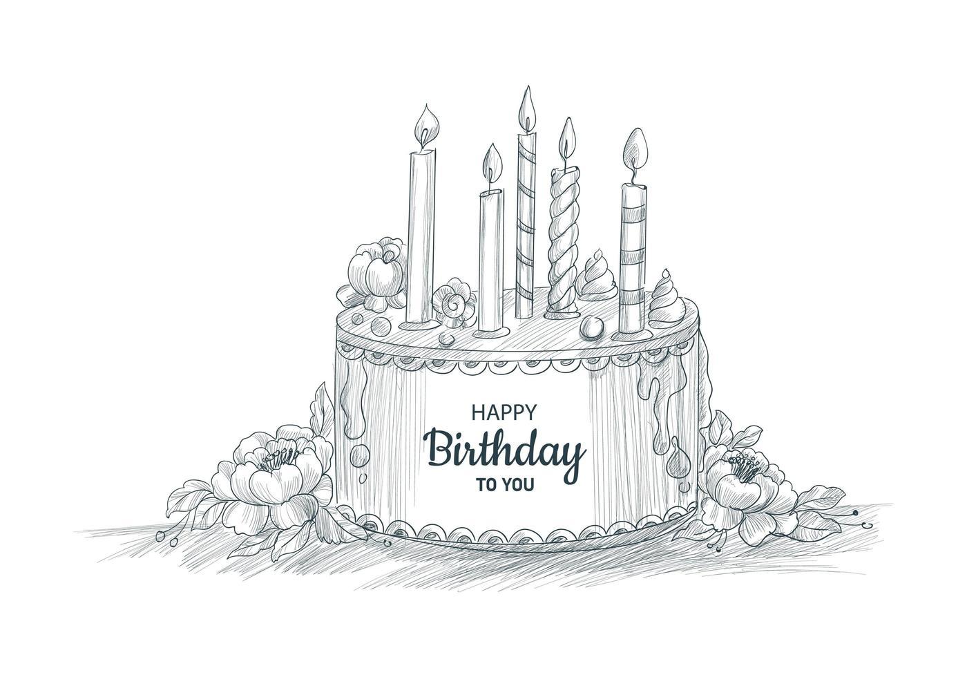 gelukkige verjaardag decoratieve cake met kaarsen schetsontwerp vector